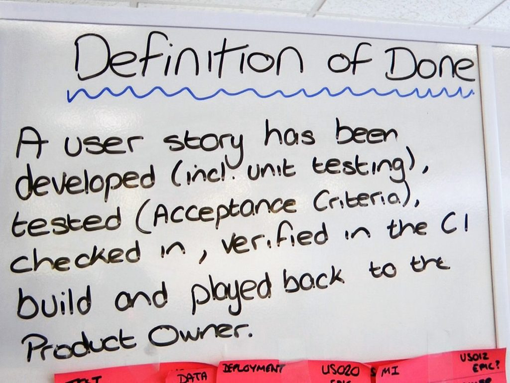 definition of done on whiteboard